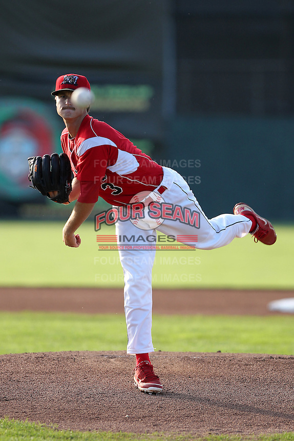 Batavia Muckdogs starting pitcher Daniel Bibona #3 during an exhibition game against the Newark Pilots of the Perfect Game Collegiate Baseball Lague at Dwyer Stadium on June 15, 2012 in Batavia, New York.  Batavia defeated Newark 8-0.  (Mike Janes/Four Seam Images)