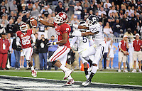 Jan. 1, 2011; Glendale, AZ, USA; Oklahoma Sooners running back (7) DeMarco Murray celebrates as he scores a touchdown in the first quarter against the Connecticut Huskies in the 2011 Fiesta Bowl at University of Phoenix Stadium. Mandatory Credit: Mark J. Rebilas-
