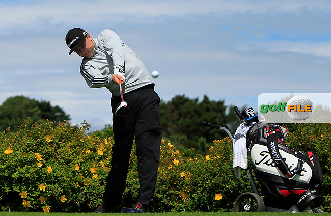 Darragh Smith (Castle) on the 18th tee during Round 3 of the 2016 Connacht U18 Boys Open, played at Galway Golf Club, Galway, Galway, Ireland. 07/07/2016. <br /> Picture: Thos Caffrey | Golffile<br /> <br /> All photos usage must carry mandatory copyright credit   (&copy; Golffile | Thos Caffrey)
