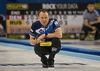 Glasgow. SCOTLAND. Scotland, Skip. Tom BREWSTER, watches his last &quot;Stone&quot; in tenth end during the  &quot;Round Robin&quot; Game. Le Gruy&egrave;re European Curling Championships. 2016 Venue, Braehead  Scotland<br /> Wednesday  23/11/2016<br /> <br /> [Mandatory Credit; Peter Spurrier/Intersport-images]