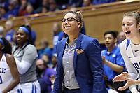 DURHAM, NC - JANUARY 26: Assistant coach Wanisha Smith of Duke University during a game between Georgia Tech and Duke at Cameron Indoor Stadium on January 26, 2020 in Durham, North Carolina.