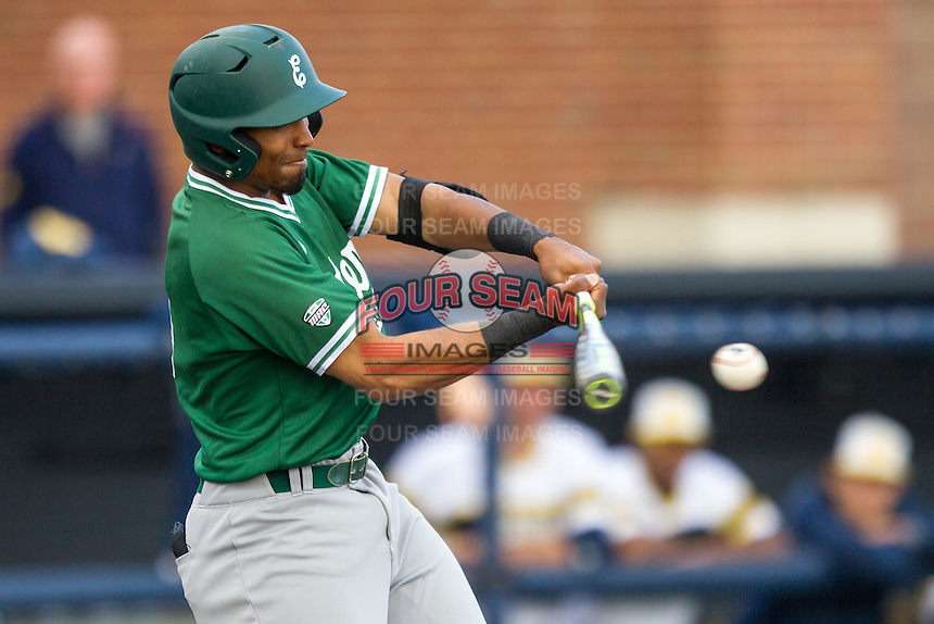 Eastern Michigan Hurons shortstop Marquise Gil (4) swings the bat against the Michigan Wolverines on May 3, 2016 at Ray Fisher Stadium in Ann Arbor, Michigan. Michigan defeated Eastern Michigan 12-4. (Andrew Woolley/Four Seam Images)