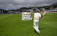 Otago's Camden Hawkins walks out to bat on day one of the Plunket Shield cricket match between the Wellington Firebirds and Otago Volts at Basin Reserve in Wellington, New Zealand on Monday, 21 October 2019. Photo: Dave Lintott / lintottphoto.co.nz