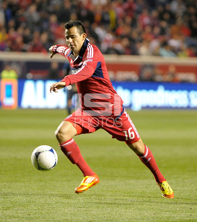 Chicago Fire midfielder Marco Pappa (16) prepares to shoot.  The Chicago Fire defeated the Philadelphia Union 1-0 at Toyota Park in Bridgeview, IL on March 24, 2012.