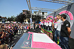 EF-Drapac-Cannondale team at sign on before the start of Stage 18 of the 2018 Giro d'Italia, running 196km from Abbiategrasso to Prato Nevoso, Italy. 24th May 2018.<br />
