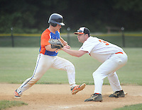 Upper Moreland's Jack Seibert makes it back to first base as Northampton first baseman Joe Opalka waits for a throw in the second inning Wednesday, June 15, 2016 in Upper Moreland, Pennsylvania.   (Photo by William Thomas Cain)