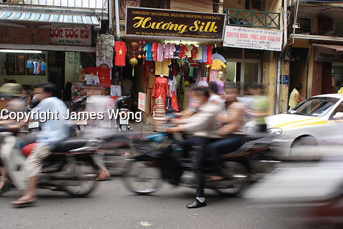 Hanoi<br /> , Vietnam - 2007 File Photo -<br /> <br /> artistic motion blur of  vietnameses driving a motorcycles in a street of hanoi.<br /> <br /> <br /> <br /> <br /> photo : James Wong-  Images Distribution