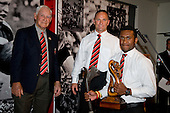 David Raikuna receives the Counties Manukau Sevens Player of the Year Award from Vic Hinton & Kevin McQuoid. CMRFU Senior prize giving held at Growers Stadium on Wednesday 22nd of October 2008.