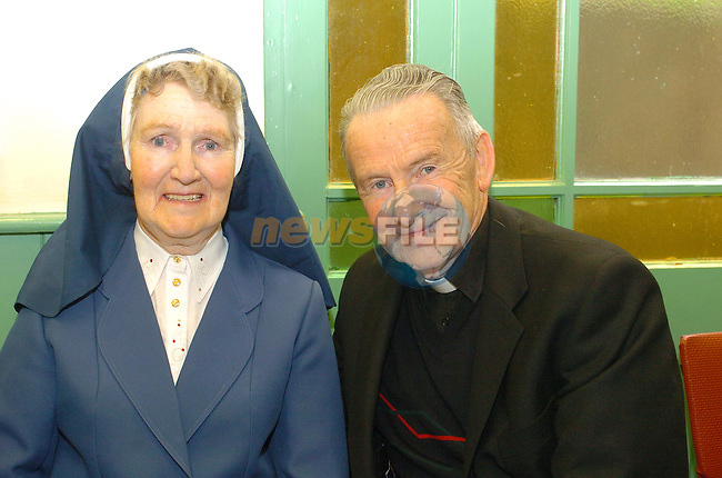 Sr. Eukaria and Fr. Willie Cleary at teh 150th Anniversary of the Sisters of Charity in fatima School...Photo Fran Caffrey Newsfile.ie..This Picture has been sent to you by Newsfile Ltd..The Studio,.Millmount Abbey,.Drogheda,.Co. Meath,.Ireland..Tel: +353(0)41-9871240.Fax: +353(0)41-9871260.ISDN: +353(0)41-9871010.www.newsfile.ie..general email: pictures@newsfile.ie