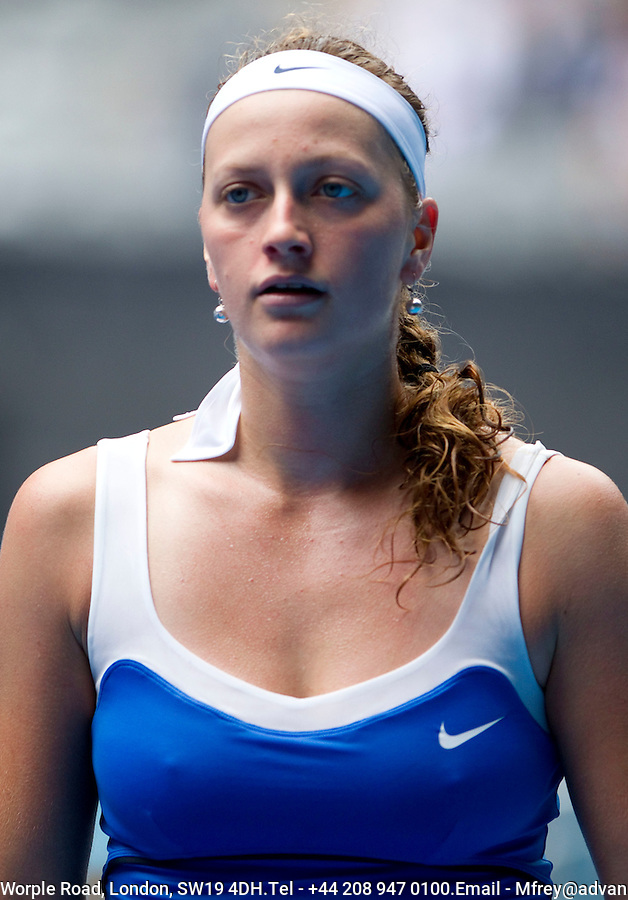 Petra Kvitova (CZE) (25) against Flavia Pennetta (ITA) (22) in the 4th round of the women's singles. Petra Kvitova beat Flavia Pennetta 3-6 6-3 6-3..International Tennis - Australian Open  -  Melbourne Park - Melbourne - Day 8 - Mon 24th January 2011..© Frey - AMN Images, Level 1, Barry House, 20-22 Worple Road, London, SW19 4DH.Tel - +44 208 947 0100.Email - Mfrey@advantagemedianet.com.Web - www.amnimages.photshelter.com