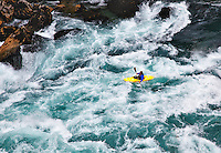 Running the Throne Room, a class V rapid, in a kayak on the Futaleufu River in Northern Patagonia, Chile.