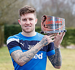 16.3.2018: Rangers training:<br /> Josh Windass with his Ladbrokes Premiership player of the month award