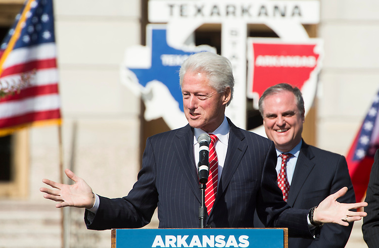 UNITED STATES - NOVEMBER 2: Former President Bill Clinton speaks as Sen. Mark Pryor listens during a campaign rally for Arkansas Democrats in Texarkana, Ark. on Sunday, Nov. 2, 2014. (Photo By Bill Clark/CQ Roll Call)