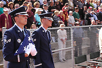 The Blue Eagles Honor Guard presented a flage to Maxine Edens during a Memorial service held for her husband Coach Bennie Eden at the Point Loma High School Football stadium that was recently renamed in his honor, Saturday February 23 2008.