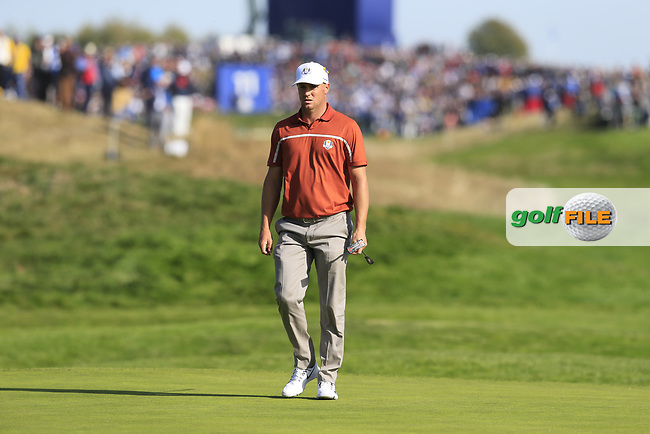 Alex Noran (Team Europe) on the 9th green during Saturday's Foursomes Matches at the 2018 Ryder Cup 2018, Le Golf National, Ile-de-France, France. 29/09/2018.<br /> Picture Eoin Clarke / Golffile.ie<br /> <br /> All photo usage must carry mandatory copyright credit (© Golffile   Eoin Clarke)