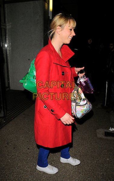 SARA COX.The British Comedy Awards, London TV Studios, Upper Ground, London, England..December 6th, 2008.full length red coat jacket bag purse profile sarah  .CAP/CAN.©Can Nguyen/Capital Pictures.