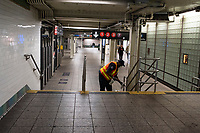 NEW YORK, NY - MARCH 19: A Worker cleaning<br /> a subway train station in New York City on March 19, 2020. The ridership declined 90 percent compared to the same date last year due to the Coronavirus. The World Health Organization declared a global pandemic as the coronavirus rapidly spreads across the world. (Photo by Joana Toro/ VIEWpress via Getty Images)