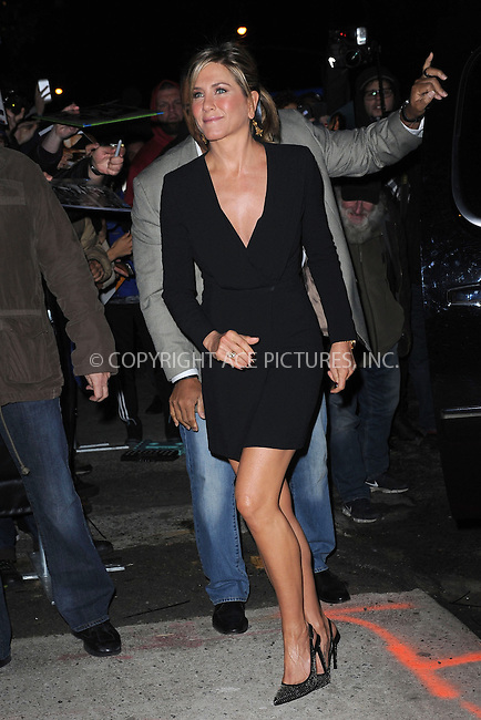 WWW.ACEPIXS.COM<br /> January 22, 2015 New York City<br /> <br /> Jennifer Aniston arrives to tape an appearance on the The Daily Show with Jon Stewart on January 22, 2015 in New York City.<br /> <br /> Please byline: Kristin Callahan/AcePictures<br /> <br /> ACEPIXS.COM<br /> <br /> Tel: 646 769 0430<br /> e-mail: info@acepixs.com<br /> web: http://www.acepixs.com