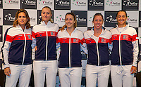 Arena Loire,  Tr&eacute;laz&eacute;,  France, 14 April, 2016, Semifinal FedCup, France-Netherlands, Draw,  French team ltr: captain Amelie Mauresmo, Kristina Mldenovic, Alize Cornet, Pauline Parmentier and Caroline Garcia<br /> Photo: Henk Koster/Tennisimages
