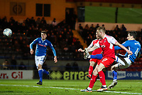 Paddy Madden of Fleetwood Town scores during the Sky Bet League 1 match between Rochdale and Fleetwood Town at Spotland Stadium, Rochdale, England on 20 March 2018. Photo by Thomas Gadd.