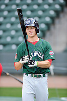 Outfielder Mike Meyers (2) of the Greenville Drive during a preseason workout on  Wednesday, April 8, 2015, the day before Opening Day, at Fluor Field at the West End in Greenville, South Carolina. (Tom Priddy/Four Seam Images)