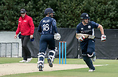 Cricket Scotland - Scotland V Namibia World Cricket League One-Day match today (Sun) at Grange CC - Umpire Ian Ramage watches as Craig Wallace and Richie Berrington make runs - this match is the first of two WCL games this week against Namibia on the same ground - picture by Donald MacLeod - 11.06.2017 - 07702 319 738 - clanmacleod@btinternet.com - www.donald-macleod.com