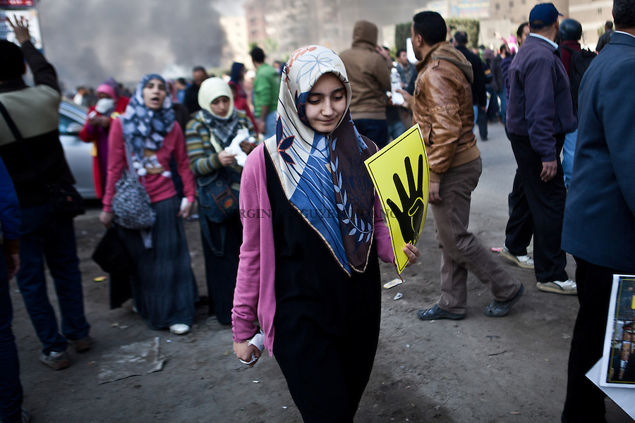 EGYPT, Cairo : Egyptian supporters of Mohamed Morsi gathered outside the Al-Salam Mosque in Nasr City, a few kilometers from the Police Academy to protest against the 2nd session of Morsi's trial on January 8, 2014 in Cairo. VIRGINIE NGUYEN HOANG