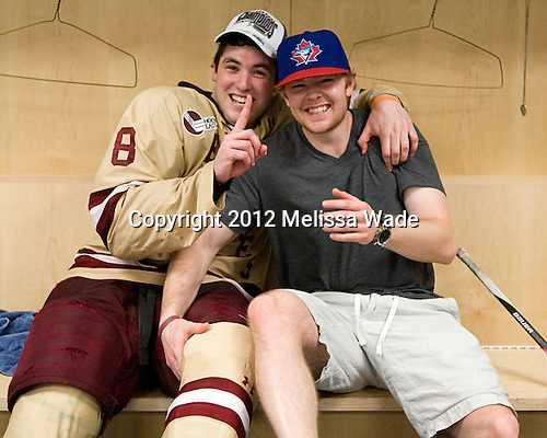 Edwin Shea (BC - 8), John Muse - The Boston College Eagles celebrate their national championship win in the 2012 Frozen Four on Saturday, April 7, 2012, at the Tampa Bay Times Forum in Tampa, Florida.