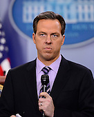 ABC News White House correspondent Jake Tapper reports prior to United States President Barack Obama's statement about how his administration will pursue a weapons control policy in the wake of the Newtown tragedy in the Brady Press Briefing Room on Wednesday, December 19, 2012.  ABC News announced on December 20, 2012 that Tapper will be leaving the network for a new opportunity at CNN.Credit: Ron Sachs / CNP
