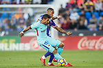 Jose Paulo Bezerra Maciel Junior, Paulinho (l), of FC Barcelona fights for the ball with Claudio Beauvue of CD Leganes during the La Liga 2017-18 match between CD Leganes vs FC Barcelona at Estadio Municipal Butarque on November 18 2017 in Leganes, Spain. Photo by Diego Gonzalez / Power Sport Images