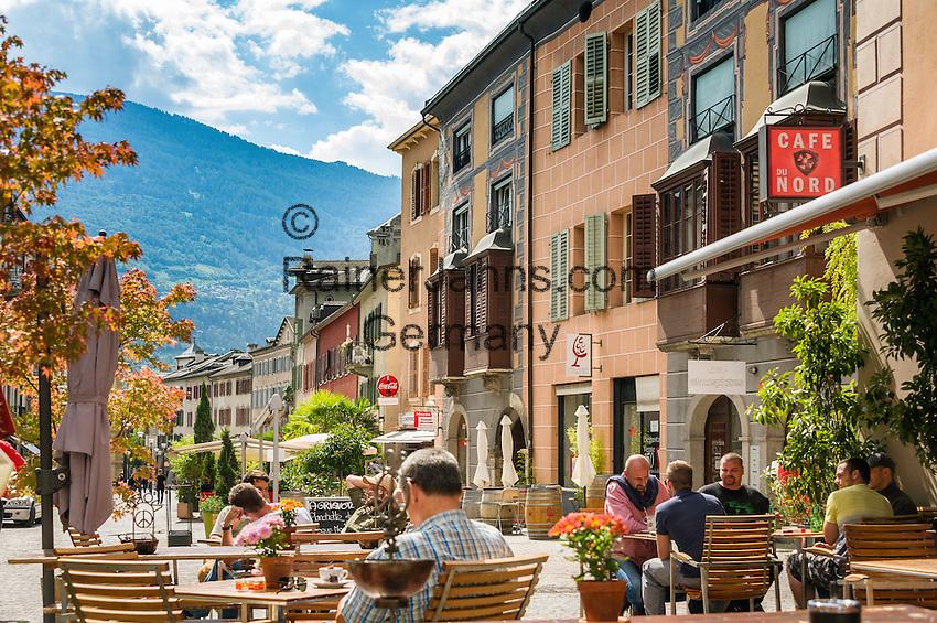 Switzerland, Canton Valais, Sion: Café du Nord in old town | Schweiz, Kanton Wallis, Sion (Sitten): Café du Nord in der Altstadt