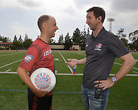 May 24, 2015; Los Angeles, CA, USA; Los Angeles Aviators owner Devin Miller (right) talks with Joe Forbes during an American Ultimate Disc League (AUDL) match against the San Francisco Flamethrowers at Occidental College. The Aviators defeated the Flamethrowers 23-22. <br /> <br /> Photo by Kirby Lee
