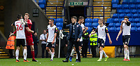 Bolton Wanderers' players congratulate each other at the end of the match<br /> <br /> Photographer Andrew Kearns/CameraSport<br /> <br /> The EFL Sky Bet Championship - Bolton Wanderers v Coventry City - Saturday 10th August 2019 - University of Bolton Stadium - Bolton<br /> <br /> World Copyright © 2019 CameraSport. All rights reserved. 43 Linden Ave. Countesthorpe. Leicester. England. LE8 5PG - Tel: +44 (0) 116 277 4147 - admin@camerasport.com - www.camerasport.com