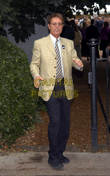 SIR CLIFF RICHARD.David Frost's summer party.sales@capitalpictures.com.www.capitalpictures.com.©Capital Pictures.full length, full-length, checked blazer