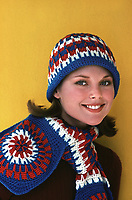 Christie Brinkley models crochet winter fashion, 1975. Photo by John G. Zimmerman.