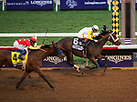 DEL MAR, CA - NOVEMBER 03: Forever Unbridled #6, ridden by John Velazquez, wins the Longines Breeders' Cup Distaff  ahead of Abel Tasman #4, ridden by Mike Smith, on Day 1 of the 2017 Breeders' Cup World Championships at Del Mar Thoroughbred Club on November 3, 2017 in Del Mar, California. (Photo by Kazushi Ishida/Eclipse Sportswire/Breeders Cup)