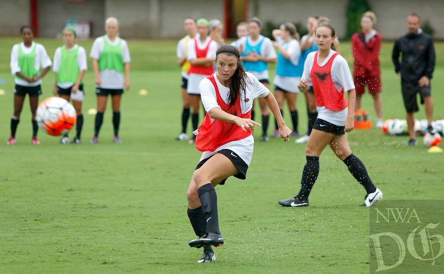 NWA Democrat-Gazette/DAVID GOTTSCHALK   University of Arkansas Razorback soccer team during practice Wednesday, August 19, 2015 on the campus in Fayetteville.