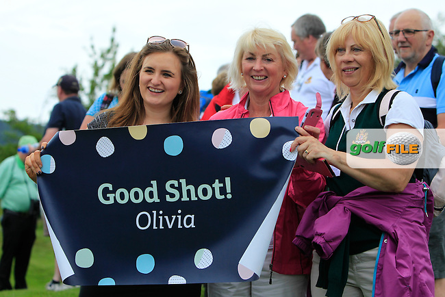 Support for Olivia Mehaffey during the Friday morning Foursomes of the 2016 Curtis Cup at Dun Laoghaire Golf Club on Friday 10th June 2016.<br /> Picture:  Golffile | Thos Caffrey