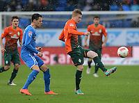 FUSSBALL   1. BUNDESLIGA  SAISON 2012/2013   15. Spieltag TSG 1899 Hoffenheim - SV Werder Bremen    02.12.2012 Kevin De Bruyne (re, SV Werder Bremen) gegen Dennis Thomalla (TSG 1899 Hoffenheim)
