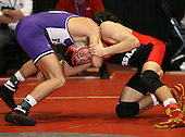 Jeff Goff and Joe Petrone wrestle at the 145 weight class during the NY State Wrestling Championships at Blue Cross Arena on March 8, 2008 in Rochester, New York.  (Copyright Mike Janes Photography)