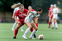 NEWTON, MA - AUGUST 29: Samantha Agresti #15 of Boston College shields ball as Taylor Kofton #9 of Boston University pressures during a game between Boston University and Boston College at Newton Campus Field on August 29, 2019 in Newton, Massachusetts.
