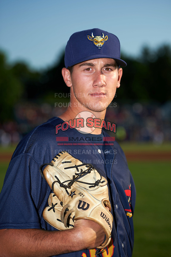 State College Spikes pitcher John Kilichowski (55) poses for a photo before a game against the Batavia Muckdogs on June 24, 2016 at Dwyer Stadium in Batavia, New York.  State College defeated Batavia 10-3.  (Mike Janes/Four Seam Images)