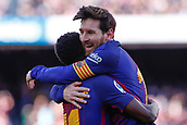 18th March 2018, Camp Nou, Barcelona, Spain; La Liga football, Barcelona versus Athletic Bilbao; Leo Messi of FC Barcelona celebrates his goal in the 30th minute for 2-0 with Ousmane Dembélé of FC Barcelona