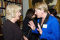 09 March 2016 - London, England - Camilla Duchess of Cornwall, President of WOW, speaks with British TV presenter Clare Balding at a reception for the Women of the World Festival (WOW) at Clarence House, in central London. Photo Credit: Alpha Press/AdMedia