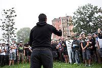 Milano 13 Ottobre: si è svolta sabato l'Alleycat race, la gara in bici ispirata ai pony express. Nella foto partecipanti prima della partenza