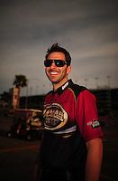 Mar. 30, 2012; Las Vegas, NV, USA: NHRA crew member for top fuel dragster driver Khalid AlBalooshi during qualifying for the Summitracing.com Nationals at The Strip in Las Vegas. Mandatory Credit: Mark J. Rebilas-
