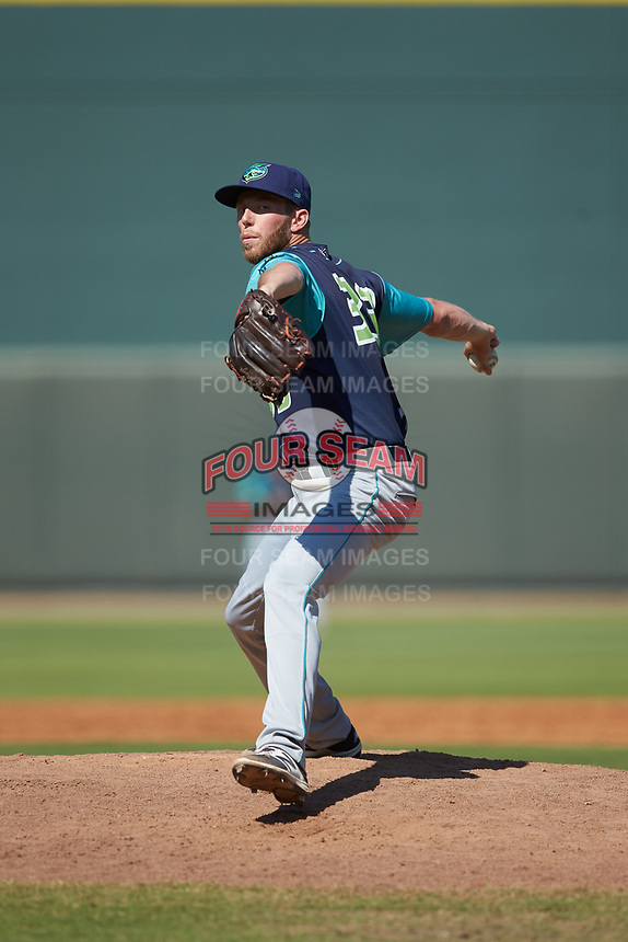 Lynchburg Hillcats relief pitcher Evan Mitchell (33) in action against the Winston-Salem Rayados at BB&T Ballpark on June 23, 2019 in Winston-Salem, North Carolina. The Hillcats defeated the Rayados 12-9 in 11 innings. (Brian Westerholt/Four Seam Images)