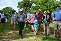 Francesco Molinari (ITA) high fives a young fan on his way to the tee on 3 during round 2 of the 2019 Charles Schwab Challenge, Colonial Country Club, Ft. Worth, Texas,  USA. 5/24/2019.<br /> Picture: Golffile   Ken Murray<br /> <br /> All photo usage must carry mandatory copyright credit (© Golffile   Ken Murray)