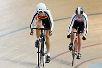 Erin Criglington and Leanne Dalley of Southland compete in the Masters Women 500m Team Pursuit at the Age Group Track National Championships, Avantidrome, Home of Cycling, Cambridge, New Zealand, Sunday, March 19, 2017. Mandatory Credit: © Dianne Manson/CyclingNZ  **NO ARCHIVING**