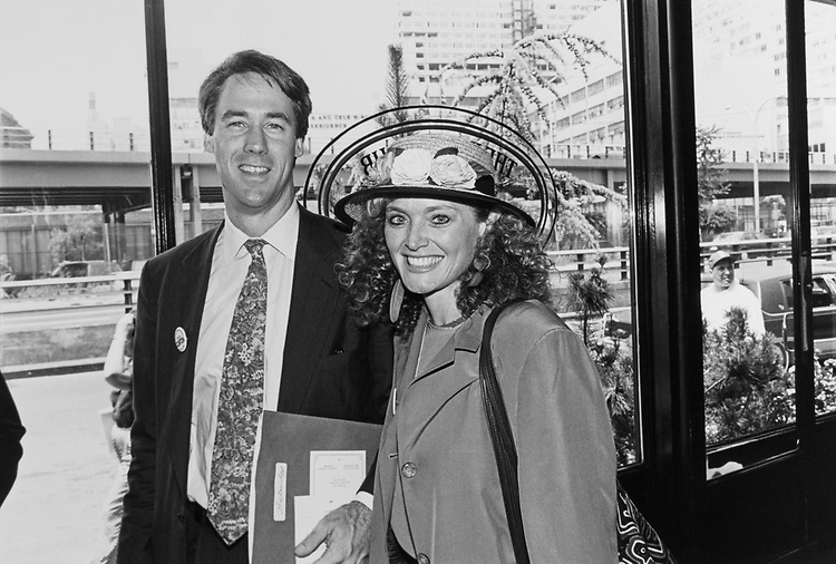 Rep. Richard Swett, D-N.H., and wife Katrina Swett at the Water Club at a luncheon for House leadership on July. 15, 1992. (Photo by Maureen Keating/CQ Roll Call)